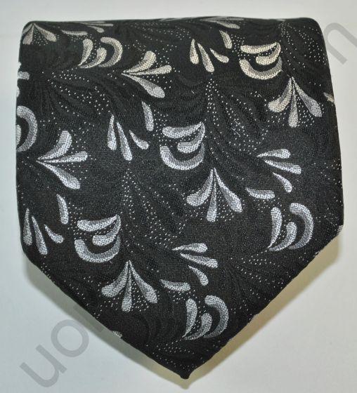 галстук черный в серые цветы