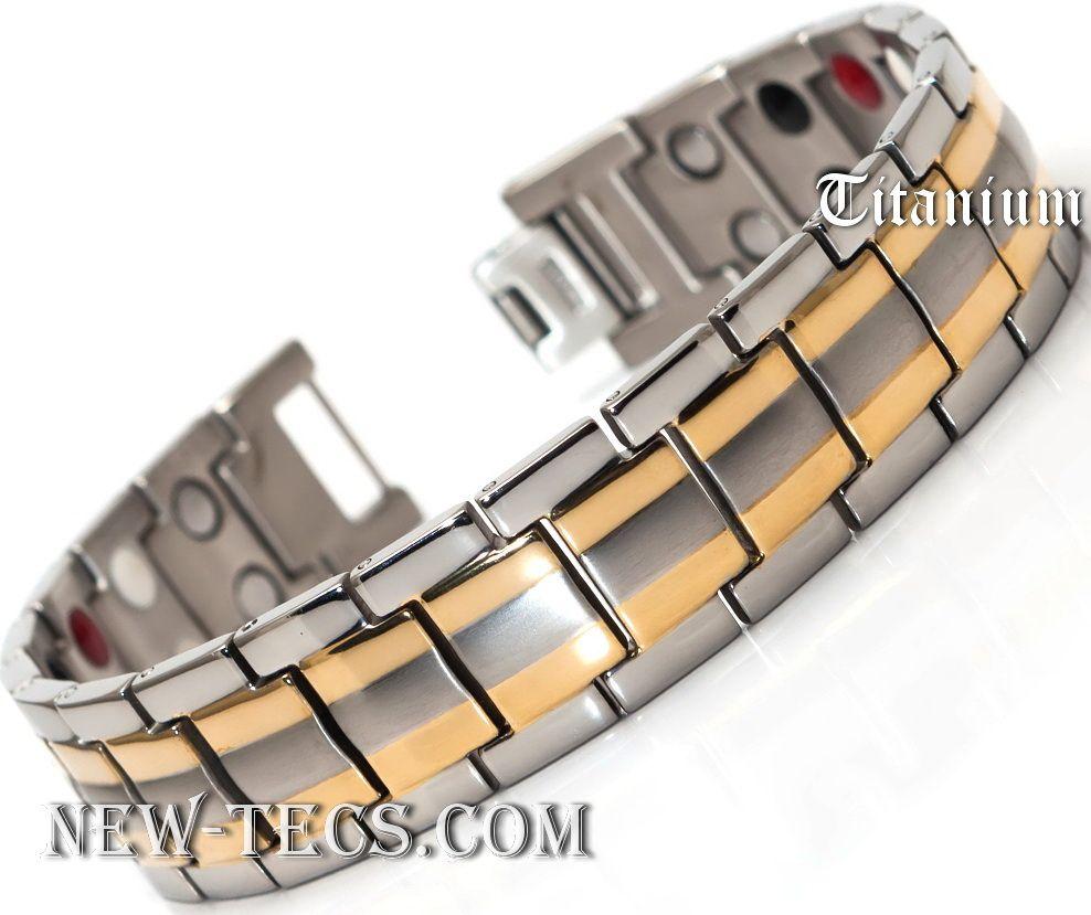 Титановый магнитный браслет TY-001NT-Mj-gold