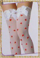 Белые чулки с кружевной резинкой и сердечками Beileisi