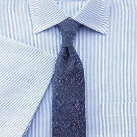 Мужская рубашка c коротким рукавом белая в мелкую синюю полоску Charles Tyrwhitt не мнущаяся Non Iron приталенная Slim Fit (FI043Sky)