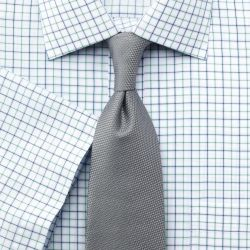 Мужская рубашка c коротким рукавом белая в сине-зеленую клетку Charles Tyrwhitt не мнущаяся Non Iron классическая Classic Fit (SB055GRN)