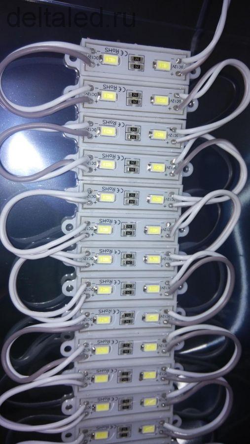 Модуль светодиодный водозащищенный смд 2 диода 5630, размер 36*9 мм, пластиковый корпус