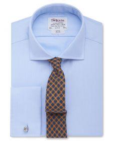Мужская рубашка под запонки синяя T.M.Lewin приталенная Slim Fit (26121)