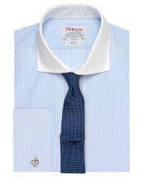 Мужская рубашка под запонки в синюю полоску с белым воротником T.M.Lewin приталенная Slim Fit (53512)