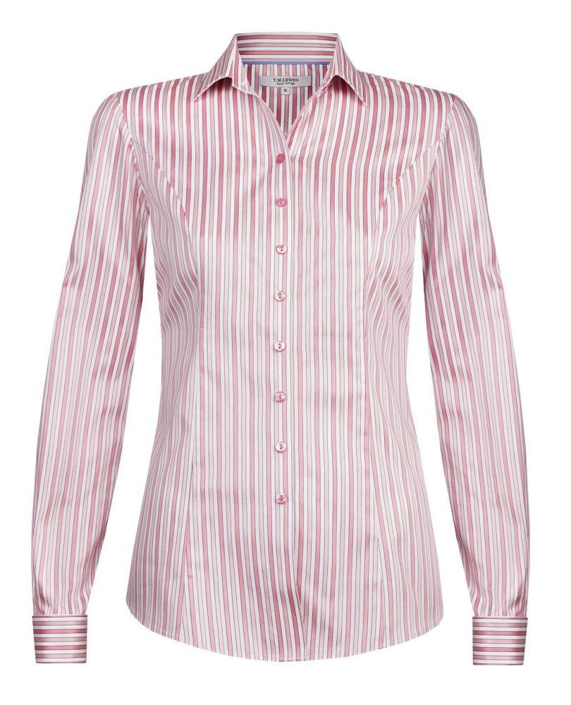 b81ca3d0570 Женская рубашка под запонки белая в красную полоску хлопок T.M.Lewin  приталенная Fitted