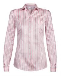 Женская рубашка под запонки белая в красную полоску хлопок T.M.Lewin приталенная Fitted (52801)
