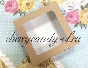 Крафт -коробка ECO TABOX с окном,  20*4*20 см