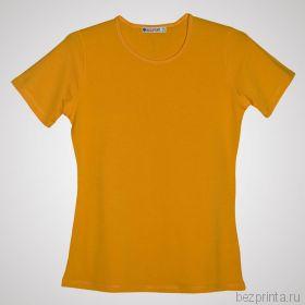 Женская желтая футболка стрейч без рисунка REDFORT
