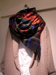 Роскошный большой плотный шарф, высокая плотность, 100 % драгоценный кашемир ,  Тартан Стюарт Чёрный вариант (премиум)