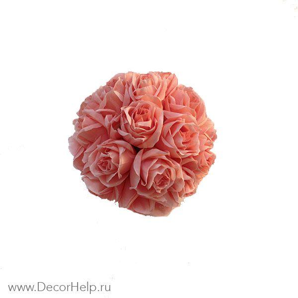 Шар из роз коралловый (8шт) арт: DCS005
