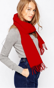 шарф 100% шерсть ягнёнка , расцветка Scarlet  Скарлет (Алый цвет),  ,плотность 6