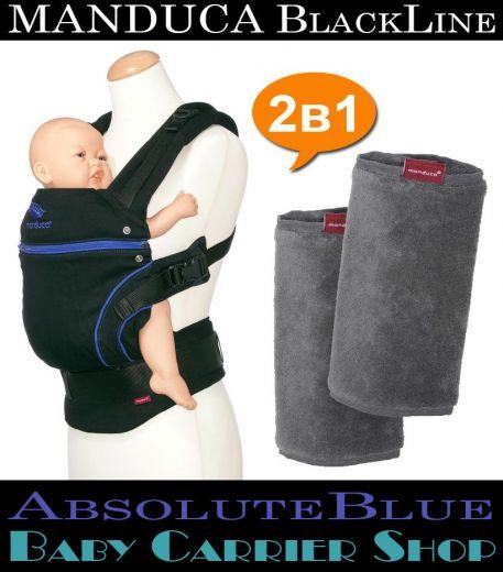 Комплект 2в1 MANDUCA BlackLine AbsoluteBlue «Слинг-рюкзак Baby Carrier + Накладки на ремни Fumbee» [Мандука набор эргорюкзак+накладки Черный-Синий+Серый]