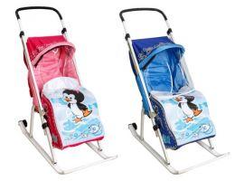 Санки-коляска Тяни-толкай трансформер эконом тимка люкс Пингвиненок с перекидной ручкой
