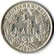 1/2 марки.  1915 год. A. Серебро. Германия.  0,9000 Серебро. 20 мм. 2,77 г.