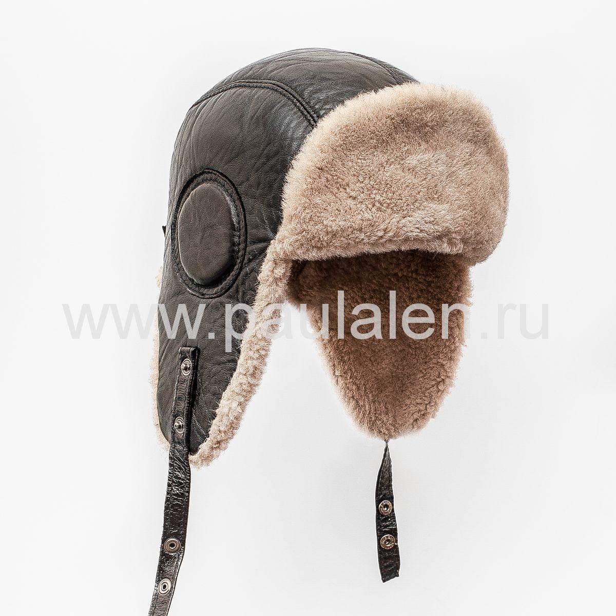 Мужской шлем Авиатор из меха овчины B041