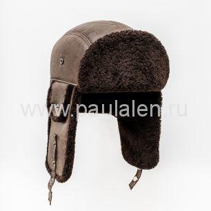 """Мужская шапка-ушанка """"Бомбер"""" из овчины. Артикул B030"""