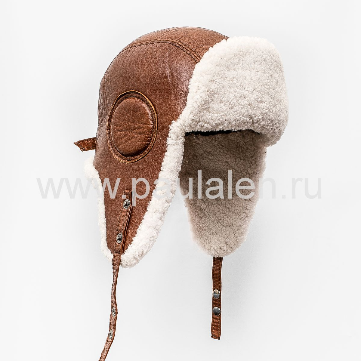 Шлем Авиатор мужской, из натуральной кожи и овчины B016