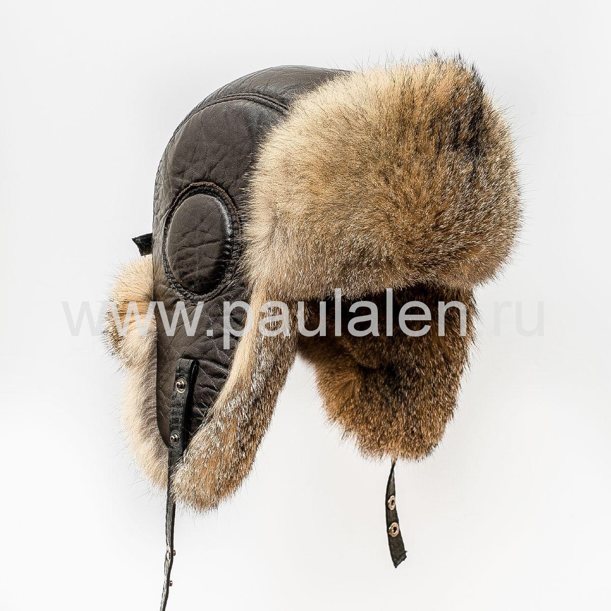 Мужская шапка ушанка (Авиатор) из меха лисицы Gray Fox