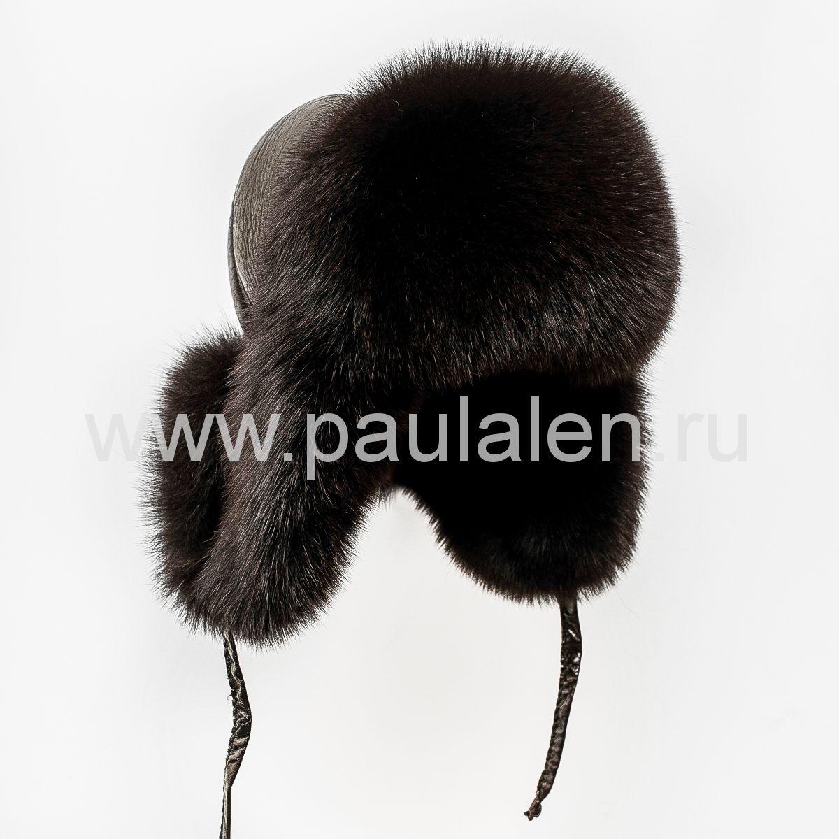 Меховая женская шапка ушанка из меха песца A023