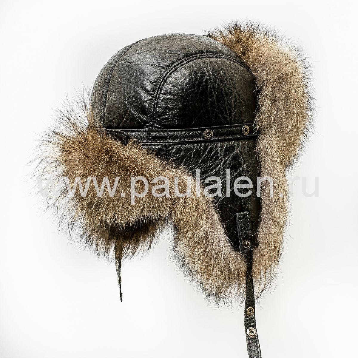 Мужская меховая шапка из волка фото