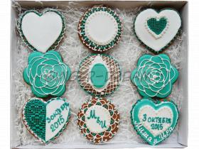 Сладкие подарки в стиле Тиффани | Свадебные пряники ручной работы