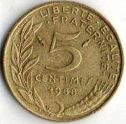 5 сентим. Франция. 1988 год.