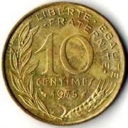 10 сентим. Франция. 1975 год.