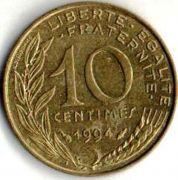 10 сентим. Франция. 1994 год.