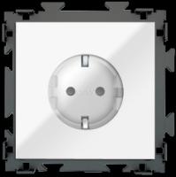 """Розетка электрическая белая с заземлением 16 A  CGSS """"Практика""""PL-W160A-WCG"""