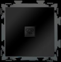 """Розетка телефон RJ11 черная матовая CGSS """"Практика"""" PL-W201T-BCM"""