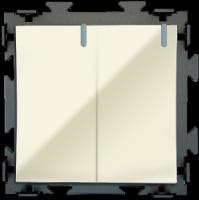 """Двухклавишный  бежевый выключатель """"Практика"""" CGSS  PL-W102-BGG"""