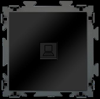"Розетка интернет RJ45 черная матовая  CGSS ""Практика"" PL-W201C-BCM"