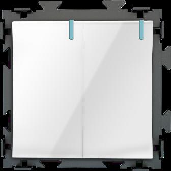 Двухклавишный переключатель белый проходной CGSS «Практика»  PL-W102-PWCG