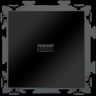 "Розетка USB черная матовая CGSS ""Практика"" PL-W201U-BCM"