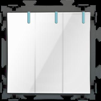 Трехклавишный  белый выключатель CGSS «Практика»  PL-W103-WCG