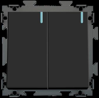 Двухклавишный  переключатель проходной черный матовый CGSS «Практика»  PL-W102-PBCM