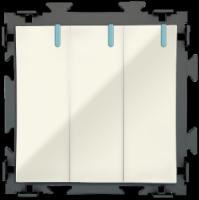 Трехклавишный переключатель  бежевый проходной CGSS «Практика» PL-W103-PBGG