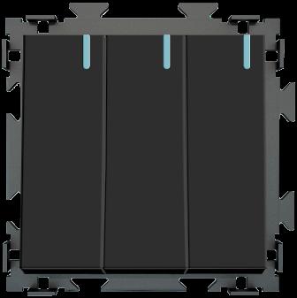 Трехклавишный  переключатель черный матовый проходной  CGSS «Практика»  PL-W103-PBCM