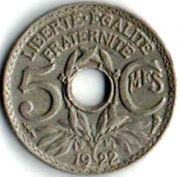 5 сентим. Франция. 1922 год.