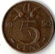 5 центов. 1950 год. Нидерланды.