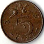 5 центов. 1955 год. Нидерланды.
