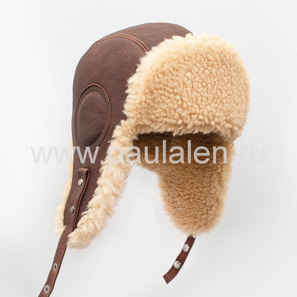 Мужская шапка ушанка Авиатор из меха овчины и буйволиной кожи