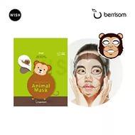 Berrisom animal mask SNAIL  MONKEY - Маска тканевая с муцином улитки