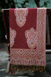 Бордовый хлопковый палантин (под заказ)