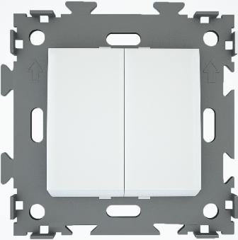 Выключатель двухклавишный белый  CGSS W102 WC