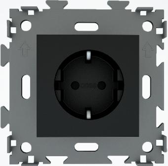 Розетка электрическая черная  CGSS W160A BC