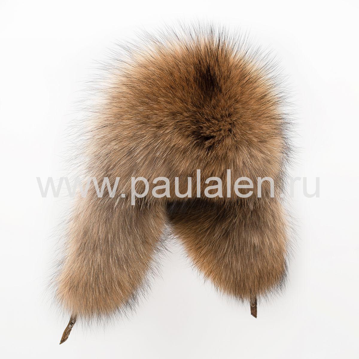Модная меховая шапка ушанка из меха енота A008