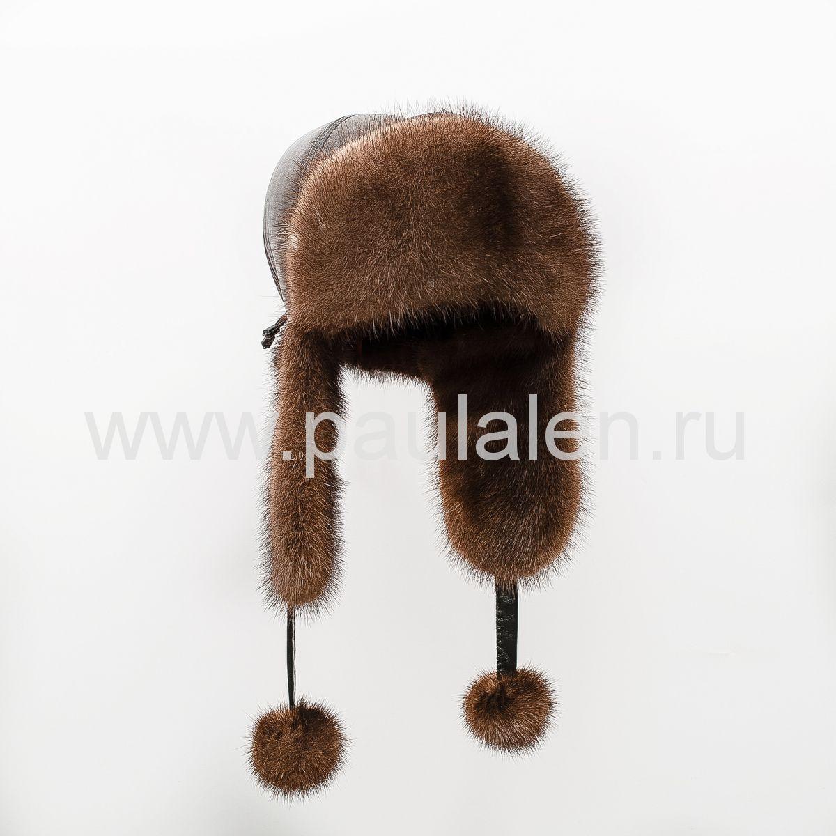 Женская норковая шапка ушанка с помпонами. Артикул A012_O