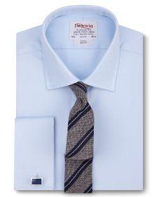 Мужская рубашка под запонки синяя T.M.Lewin приталенная Slim Fit (52490)