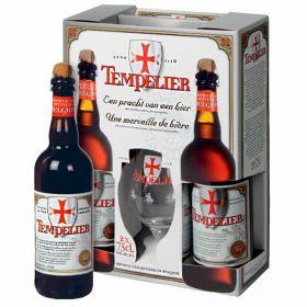 Набор пивной Tempelier (Тамплиер) 2 бут * 0.75 л + фирменный бокал в подарочной упаковке